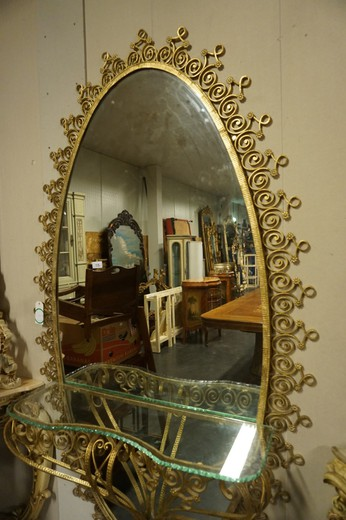 Antique mirror with console