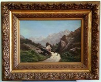 "Antique painting ""Mountain landscape"""