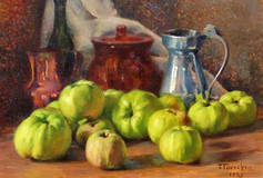Antique painting with green apples still alive
