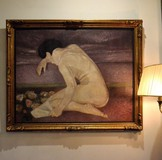 Antique painting a naked next to the canape