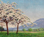 "Antique painting ""Apple tree in blossom"""