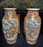 Antique paired Satsuma vases