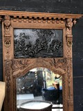 Antique bleached renaissance mirror with bas relief