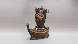 Antique sculpture of Takarabune boat