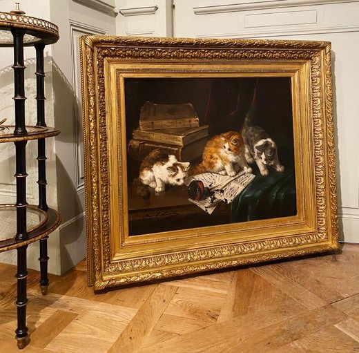 "Antique painting ""Kittens"""