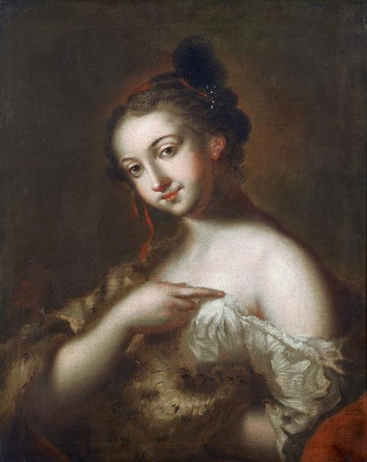 Antique painting of a young girl