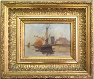 Antique painting of a marine port