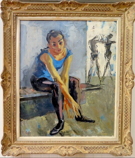 "Antique painting ""Blue swimsuit"""