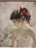 "Antique painting ""Young Lady"""