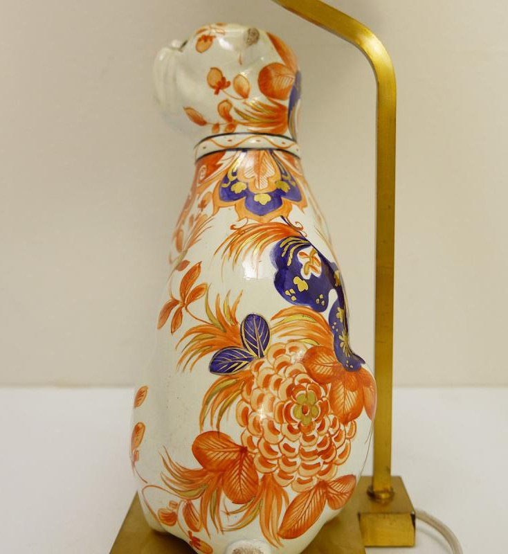 Antique ceramic lamps dogs