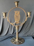 Antique owl candle holder