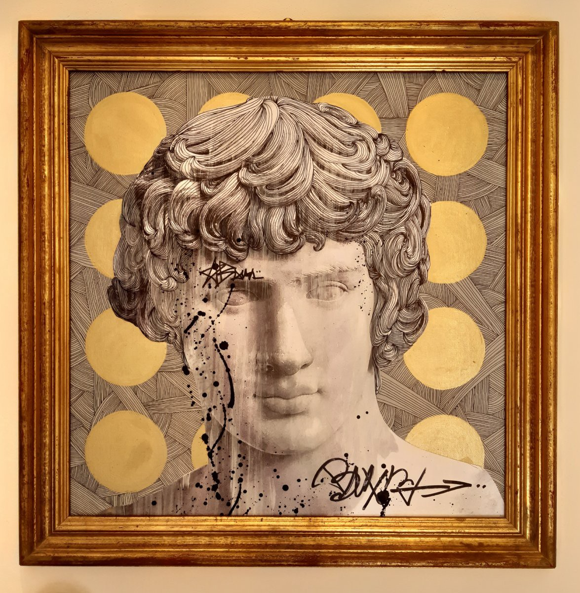 Antique painting street art of Antinous