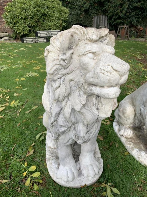 Park sculptures of lions