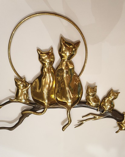 "Vintage wall panel ""Cats under the moon"""