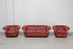 Antique leather sofa and 2 armchairs