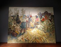 "An antique painting ""Harvesting corn"""