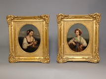 Antique pair portraits of young girls