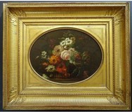 "Antique painting ""Basket of Flowers"""