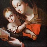 "Antique painting ""Madonna and Child"""
