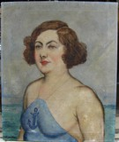 Antique funny painting of a beautiful sailor girl