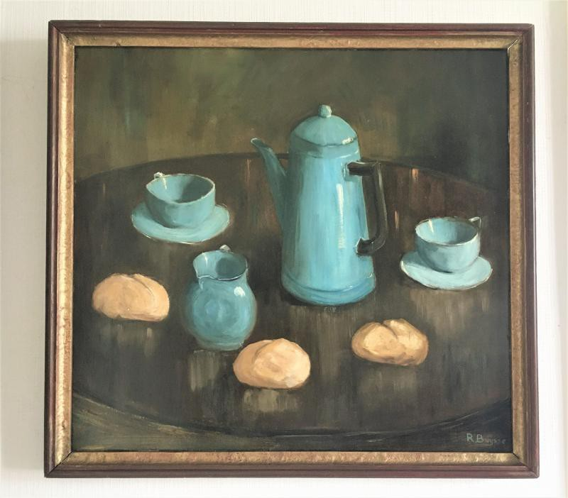 Antique painting a still life with buns
