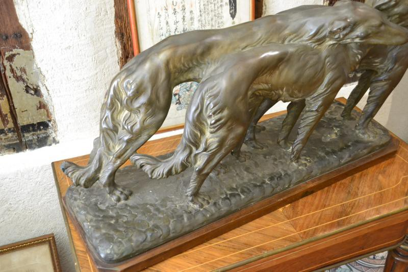 Antique art deco sculpture of greyhound