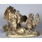 "Antique sculptural composition ""Rooster and Turkey"""