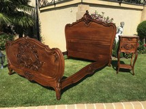 Antique Louis XV style bed and night stand