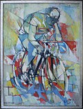 Antique painting representing a cyclist