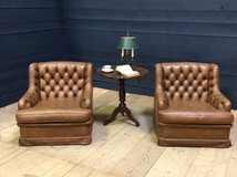 Antique pair Chesterfiled armchairs