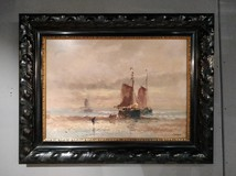 "Antique painting ""Sailboats"""