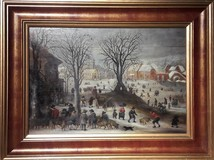 "Antique painting ""Flemish landscape"""