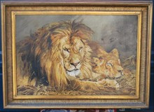"Antique painting ""Lion and Lioness"""
