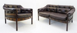 Antique set of leather furniture by Arne Norell