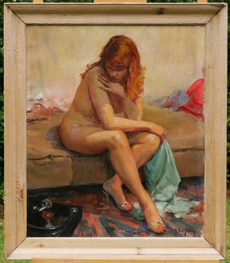 "Antique painting ""Nude with a record player"""