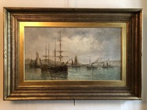 "Antique painting ""Sailboats in the port"""
