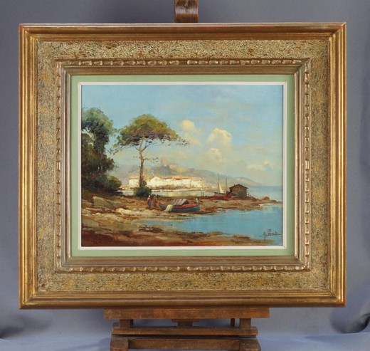 Antique painting of a Mediterranean landscape