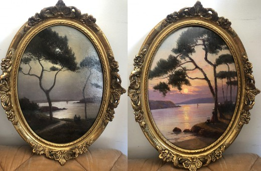"Antique pair paintings ""Sunrise and Sunset"""