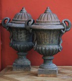 Antique paired flowerpots