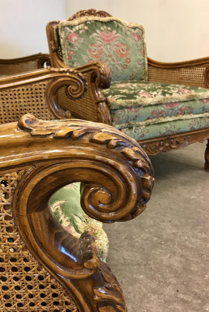 Antique sofa and 2 armchairs living room set
