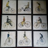 "Set of nine engravings ""Models of bicycles"""