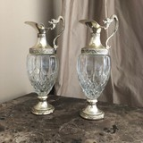 antique pair dolphins decanters