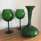 Vintage vase with paired candlesticks