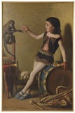 "Antique painting ""Girl with a monkey"""