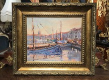 "Antique painting ""Harbor"""