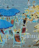 "Antique painting ""Blue Umbrellas"""