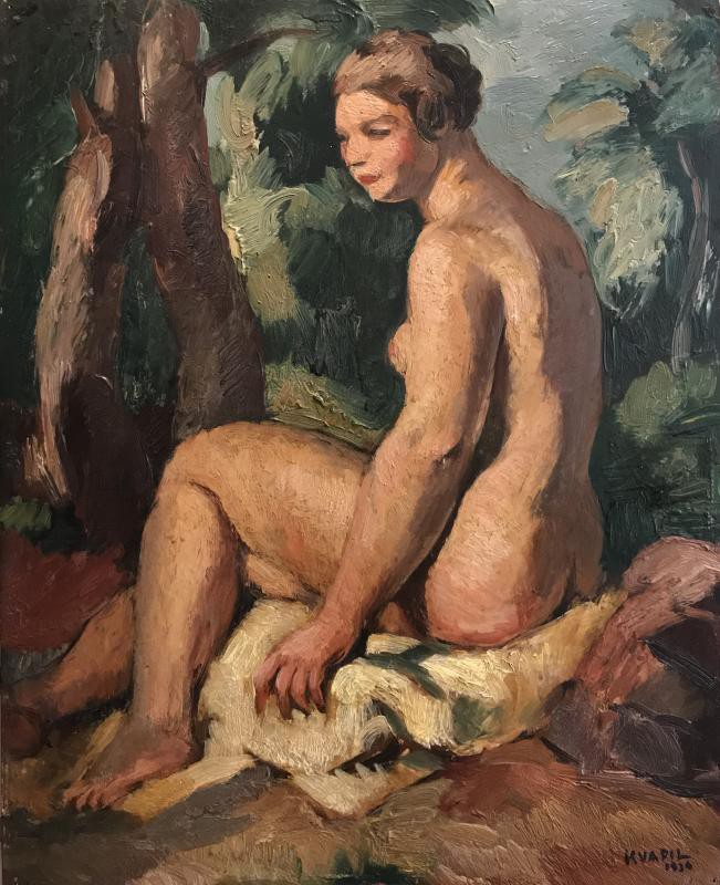 Antique painting naked in the garden