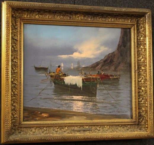 "Antique painting ""Fishing"""