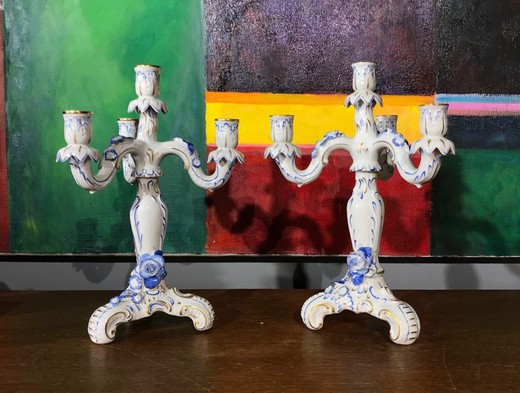 Pair antique porcelain candleholders