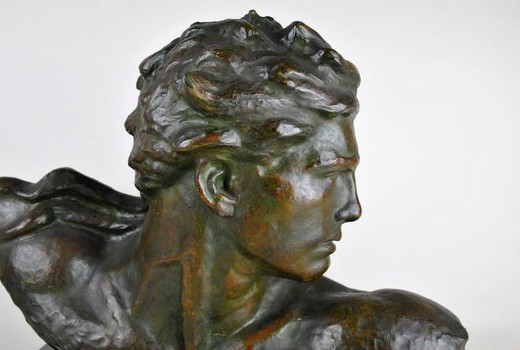 Antique sculptural portrait of Jean Mermoz